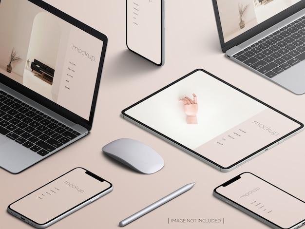 Maquette D'écran Des Appareils Sensibles Isométriques PSD Premium
