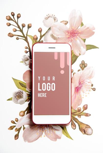 Maquette d'écran florale de téléphone portable Psd gratuit