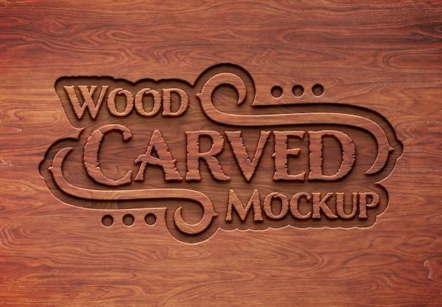 Maquette d'effet de texte en bois sculpté PSD Premium
