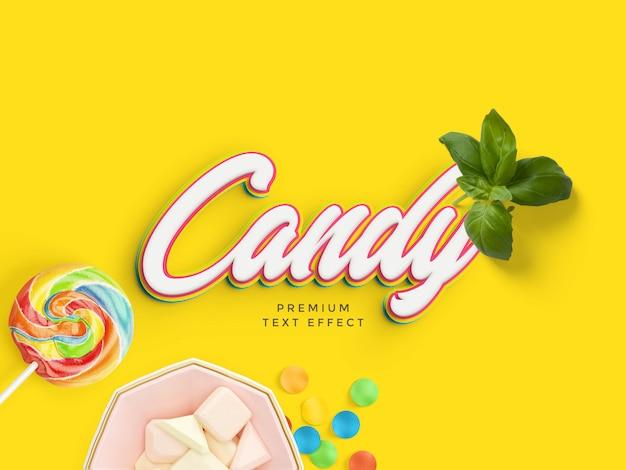 Maquette d'effet de texte candy PSD Premium
