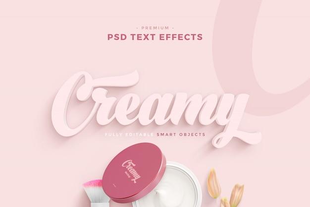 Maquette d'effet de texte crémeux PSD Premium