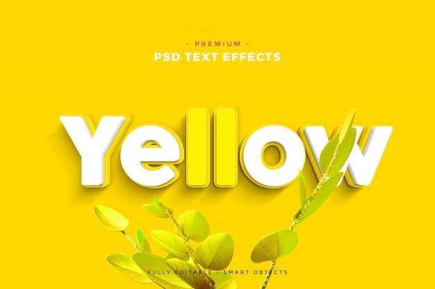Maquette d'effet de texte jaune PSD Premium