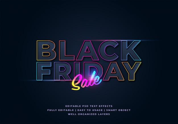 Maquette d'effet de texte de vente vendredi noir PSD Premium