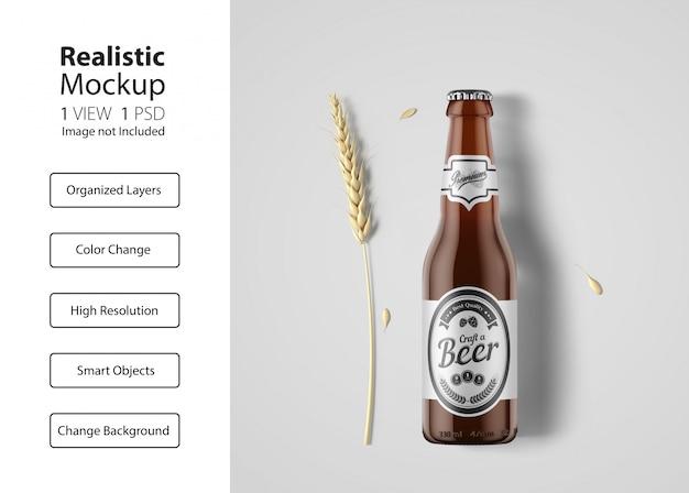 Maquette D'emballage De Bouteille De Bière Réaliste PSD Premium