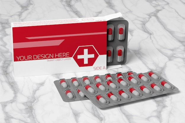 Maquette d'emballage pharmaceutique PSD Premium