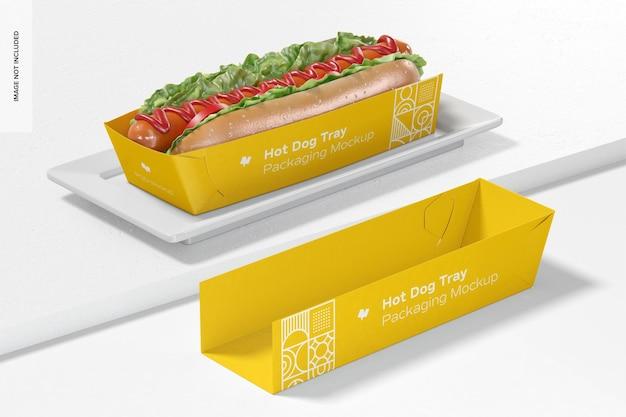 Maquette D'emballage De Plateau De Hot-dog, Perspective PSD Premium