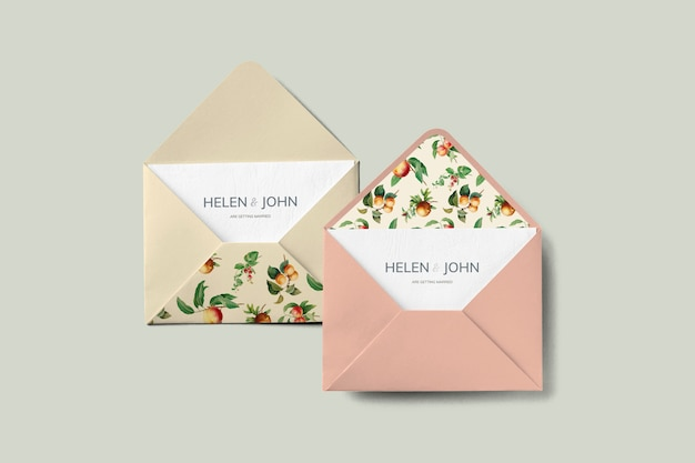 Maquette Enveloppe Carte Vintage Fruits Invitation Psd gratuit