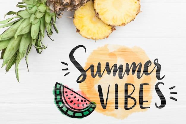 Maquette d'été à plat avec fond et ananas Psd gratuit