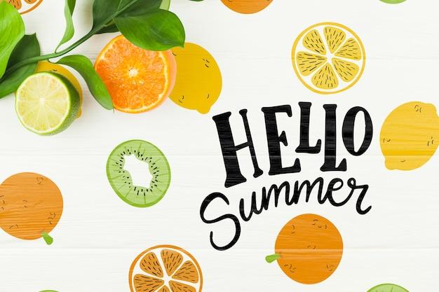 Maquette d'été à plat avec fond et fruits Psd gratuit