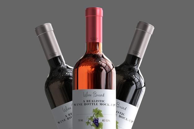 Maquette d'étiquette de bouteille de vin réaliste PSD Premium