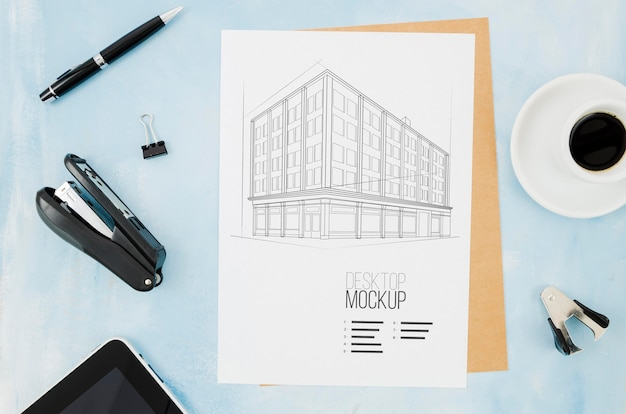 Maquette à L'extérieur De L'architecture De L'estampage Et Du Café Psd gratuit