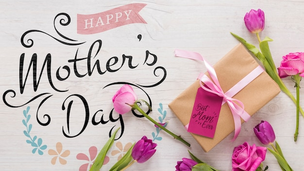 Maquette de la fête des mères florale Psd gratuit