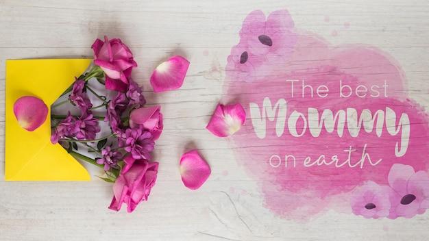 Maquette de la fête des mères avec fond Psd gratuit