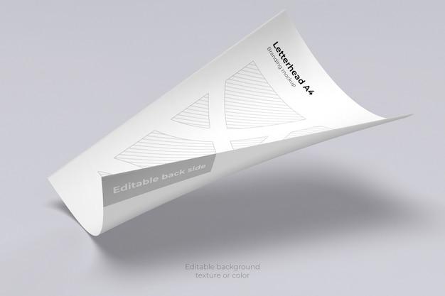 Maquette De Feuille De Papier à En-tête Flottant Isolé PSD Premium