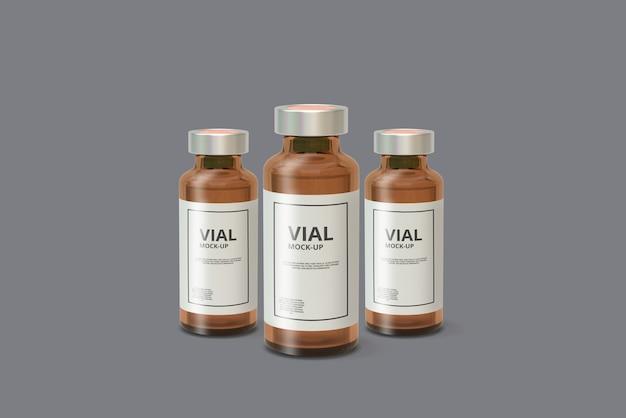 Maquette de flacon de médicament ambre PSD Premium