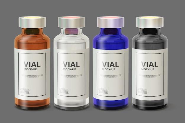 Maquette de flacon de médicament en verre de couleur PSD Premium