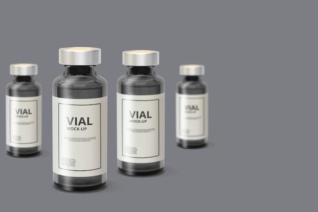 Maquette de flacon de médicament en verre foncé PSD Premium