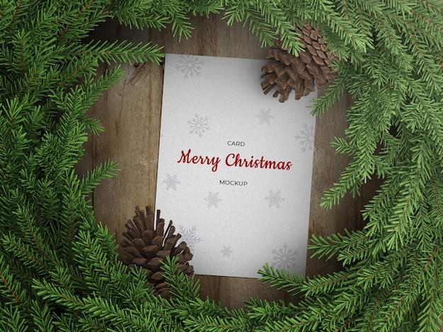 Maquette De Flyer De Carte De Voeux De Vacances Avec Décoration De Guirlande De Noël Avec Cônes PSD Premium