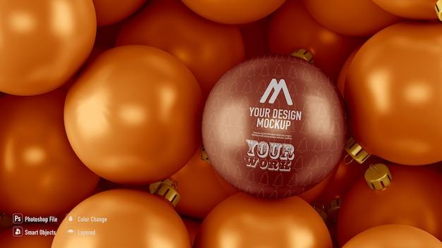 Maquette De Fond De Boules De Noël Dorées D'en Haut PSD Premium