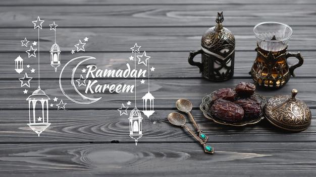 Maquette de fond avec le concept de ramadan Psd gratuit