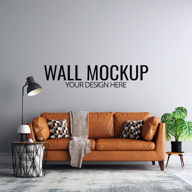 Maquette de fond de mur de salon intérieur avec meubles et décoration PSD Premium
