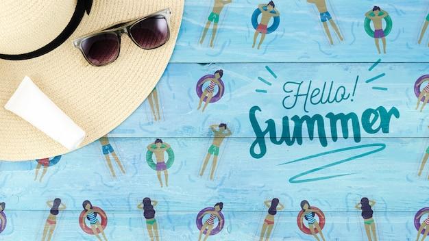 Maquette de fond plat laïque pour les concepts de l'été Psd gratuit
