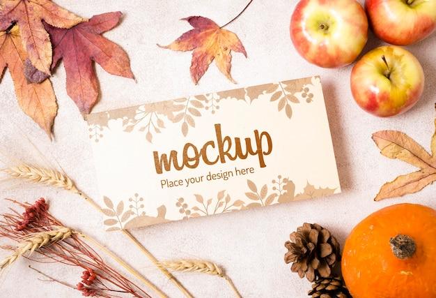 Maquette De Fruits Et De Feuilles D'automne Séchées Psd gratuit