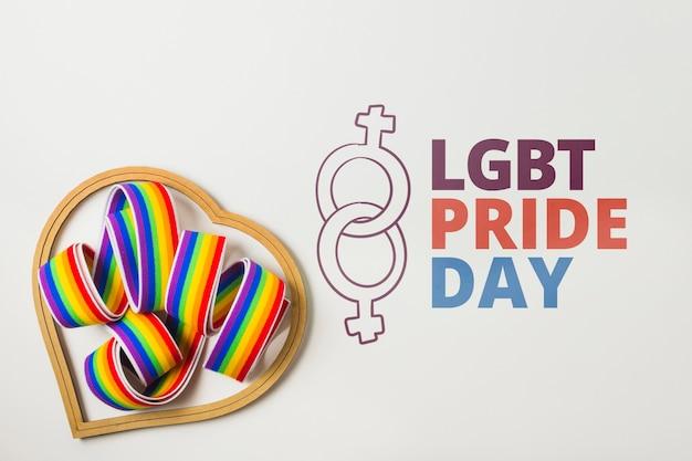Maquette gay pride avec ruban Psd gratuit