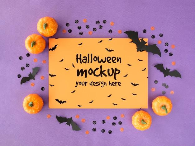 Maquette D'halloween Avec Des Citrouilles Et Des Chauves-souris Psd gratuit