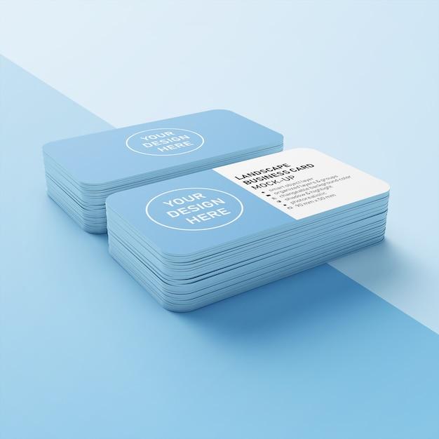 Maquette haut de gamme, modèle de conception composée de deux piles de cartes nominatives horizontales prêtes à l'emploi de 90x50 mm avec angles arrondis dans la vue supérieure PSD Premium