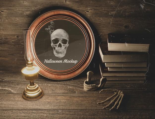 Maquette d'horreur noire d'halloween avec des crânes Psd gratuit