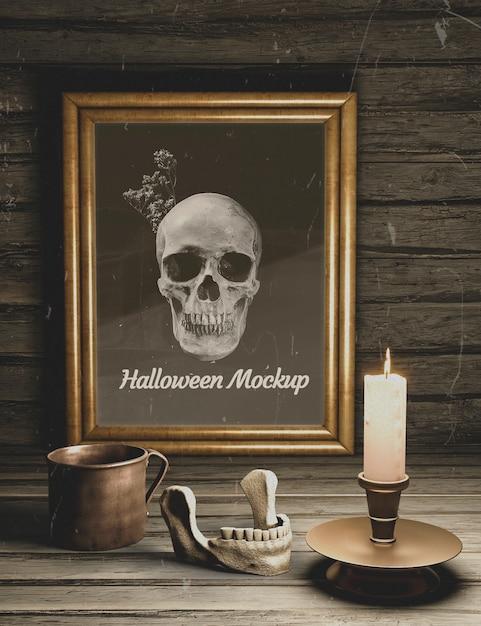 Maquette d'horreur noire halloween sombre éléments de vue de dessus Psd gratuit
