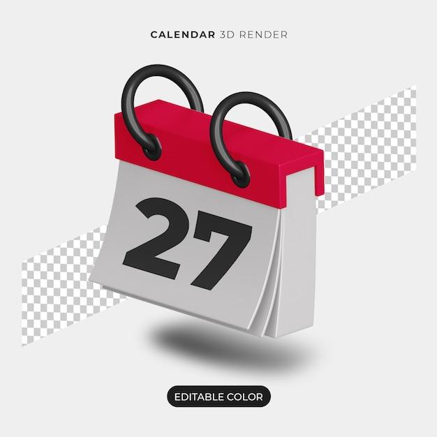 Maquette D'icône De Calendrier 3d Isolée PSD Premium