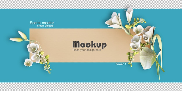 Maquette D'illustration De Cadre De Fleurs Assorties PSD Premium