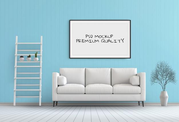Maquette image dans la salle intérieure, rendu 3d PSD Premium