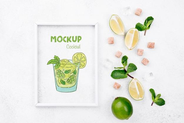 Maquette D'ingrédients De Cocktail Vue De Dessus Psd gratuit