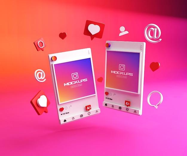 Maquette Instagram Médias Sociaux 3d PSD Premium