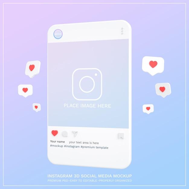 Maquette Instagram Sur Les Médias Sociaux Post 3d PSD Premium