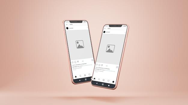 Maquette Instagram De Smartphones Isolé PSD Premium