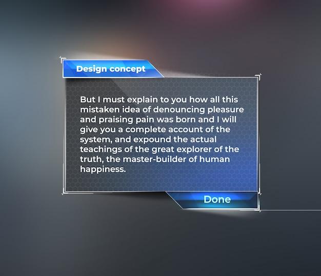 Maquette d'interface utilisateur, tableau de bord pour le texte. PSD Premium