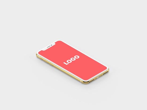 Maquette d'iphone x isométrique en or PSD Premium