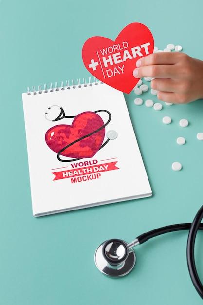 Maquette De Jour De La Santé à Plat Avec Des Pilules Psd gratuit