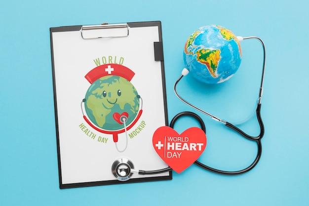 Maquette De La Journée Mondiale De La Santé à Plat Psd gratuit