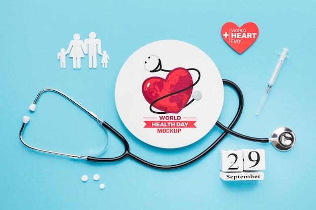 Maquette De La Journée De La Santé Vue De Dessus Psd gratuit