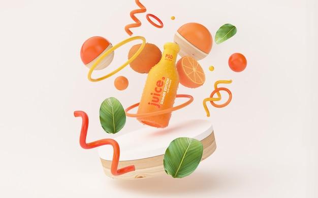 Maquette De Jus D'orange Frais Dans Une Scène D'été Psd gratuit