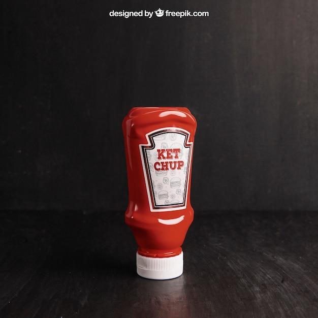 Maquette de ketchup Psd gratuit