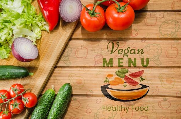Maquette de légumes frais et sains Psd gratuit