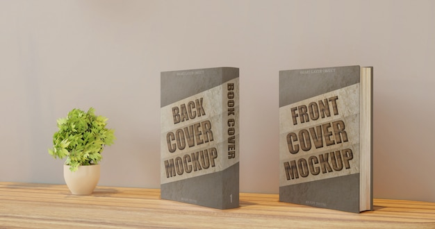 Maquette De Livre Pour La Couverture Avant Et Arrière Sur Le Bureau Mural PSD Premium