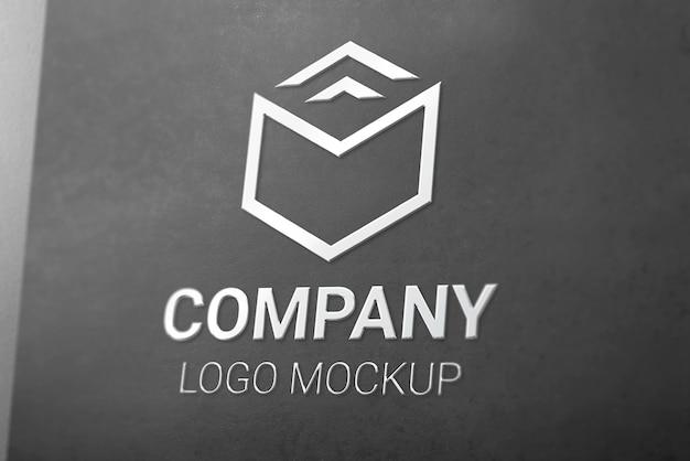 Maquette De Logo 3d Brillant Argenté Sur Papier Noir PSD Premium