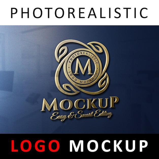Maquette de logo - affichage du logo 3d en or sur le mur du bureau PSD Premium